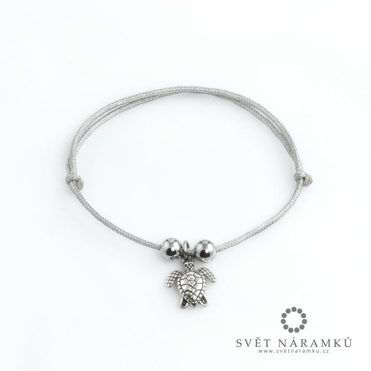 Náramek Macrame TURTLE - Stříbrný