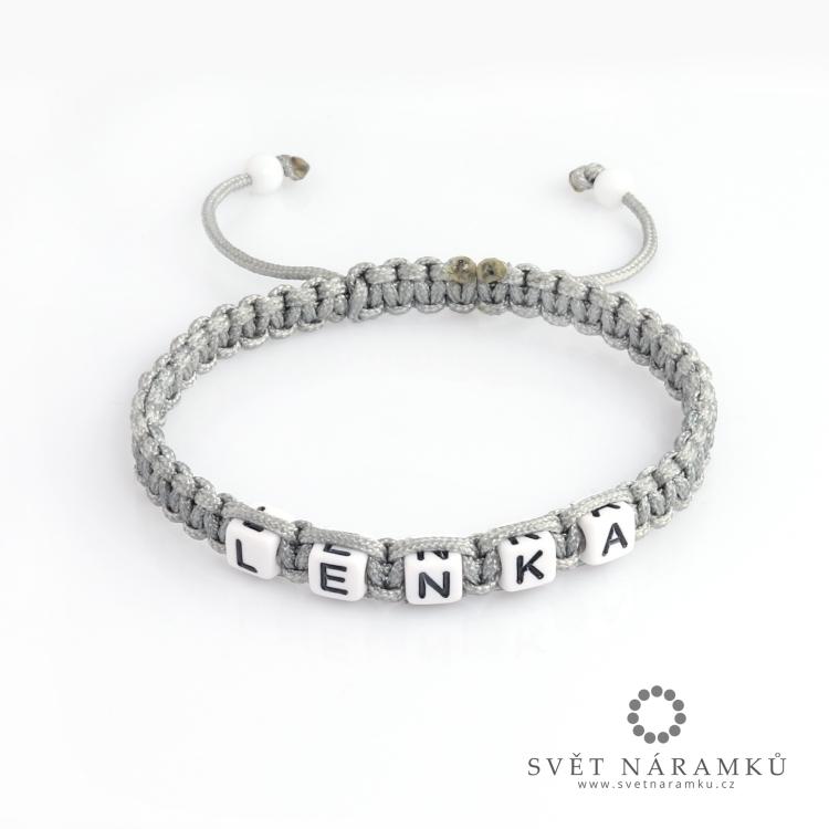 Shamballa náramek se jménem na přání - Stříbrný