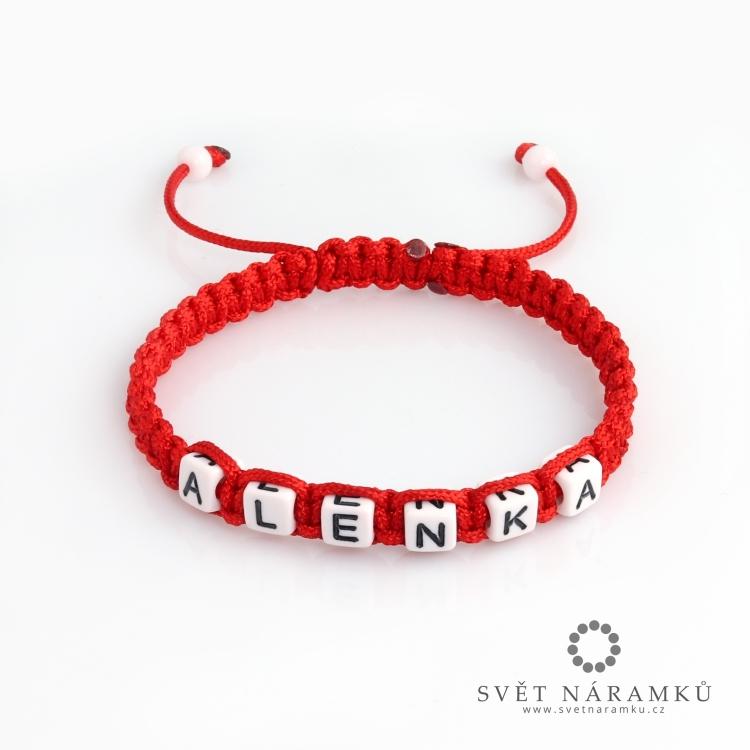Shamballa náramek se jménem na přání - Červený